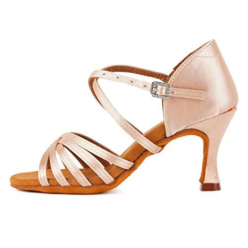 TINRYMX Zapatos de Baile Latino Mujer Salsa Zapatillas de Baile de Salon de Satén Zapatos de Baile Baratos, EU 39
