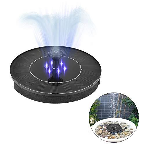 SDGDFXCHN Springbrunnen Solar Garten 2.4W Mini LED wasserdichte Solar Teich Panel Brunnenpumpen Outdoor mit Power Speicherfunktion für Teich Garten Hohe Wassersprühhöhe 500 mAh Batterie