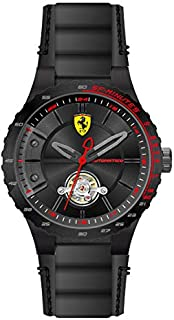 FERRARI MEN'S BLACK DIAL BLACK LEATHER WATCH - 830366