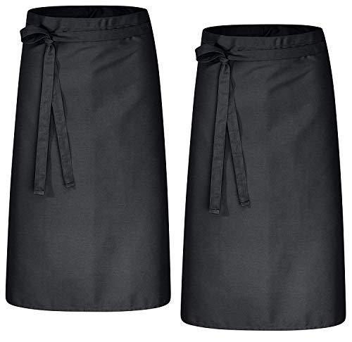 DESERMO 2er Pack Premium Vorbinder 100cm x 80cm (L X B) ✓ Hochwertige Taillen-Schürze für Frau und Mann ✓ Innovative Mischung aus Baumwolle und Polyester ✓ Große Farbauswahl ✓ (Schwarz)