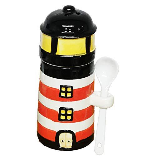 Land-Haus-Shop Keramik Eierbecher Leuchtturm Maritim mit Löffel Salzstreuer Eier Halter Becher (Rot-Weiß)