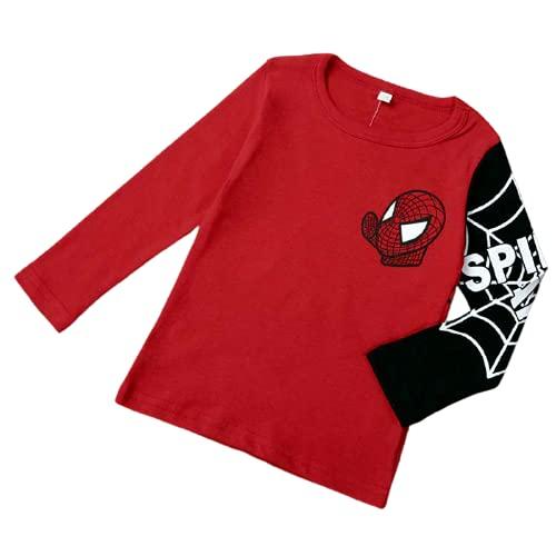 Hearyoo Chemise à manches longues pour garçon - Imprimé Spiderman - Rouge et noir, Mixte enfant, Rouge, 110