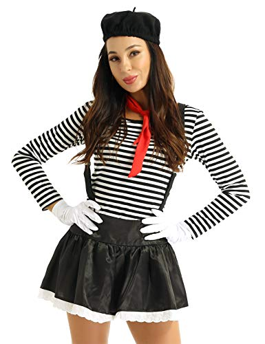 inlzdz 6PCS Damen Pantomime Kostüm French Mime Harlekin Kostüm Zirkus Clown Outfit Halloween Kostüm Karneval Fasching Party Verkleidung Schwarz (Damen) Medium