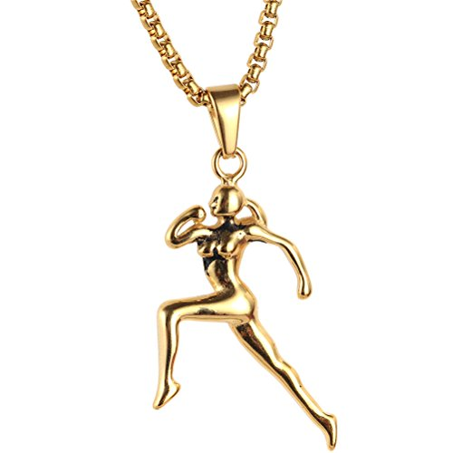 HIJONES Mujer Corredor Acero Inoxidable Jogging Mujer Colgante Deporte Collar De Oro