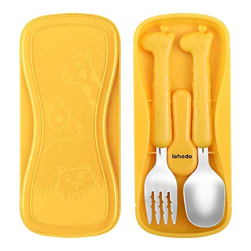 Toddler Utensils Kids Spoon and Fork Set 18/8 Stainless Steel Silverware BPA Free Cute Giraffe Child Flatware with Travel Case for Age 3+