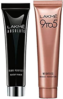 Lakme Absolute Blur Perfect Makeup Primer, 30g & Lakme 9 to 5 Weightless Mousse Foundation, Beige Vanilla, 6g
