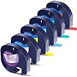 Wonfoucs Compatible Label Tape Replacement for Dymo Label Maker Refills 12mm x 4m 1/2 x 13 Plastic Tape 16952 91331 91332 91333 91334 91335 for DYMO LetraTag LT100H LT100T QX50 Label Makers, 6-Pack