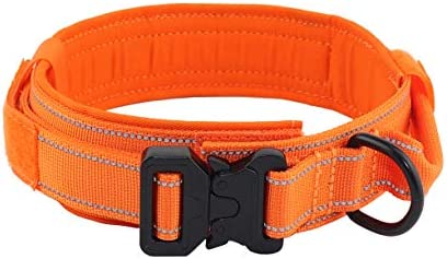 Yunleparks Tactical Dog Collar Reflective Nylon Dog Collar with Metal Buckle and Control Handle product image