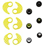 BLUEWALL Ear Cushion Ear Fin Ear Hook for JayBird X2, X, 3 Pairs SML Replacement Eartips EarFins Earhooks for JayBird BlueBuds X,X2 Mpow Bluetooth Sport Headphones with Cable Clip, Yellow