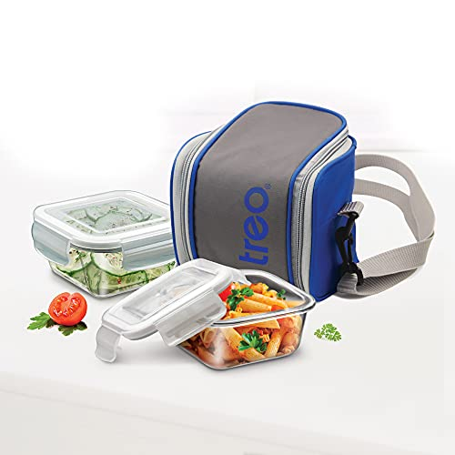 Milton TREO Cube Borosilicate Glass Tiffin Lunch Box 2 Round Containers- 300 ml, Transparent