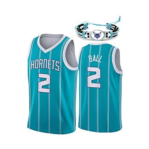 GAOXI Jersey de Baloncesto de los Hombres, Hornets No. 2 Swingman Jersey Camiseta Chaleco, Bordado de Malla, Pulsera de Equipo Green-XXL