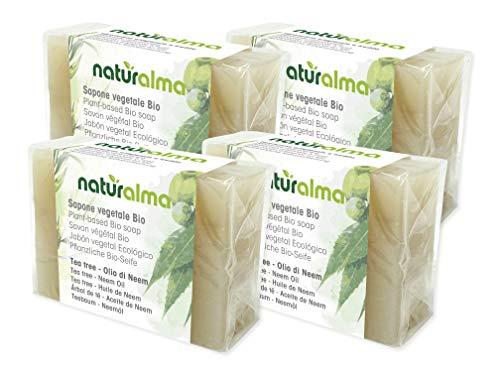 Bioalma Saponi Vegetali Bio TREE OLIO DI NEEM - 4 stuks plantaardige zeep gemaakt in Italië met zonnige grondstoffen uit biologische landbouw en ambachtelijke verwerking.