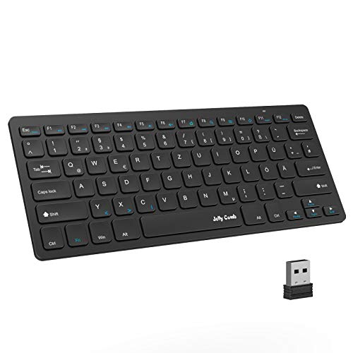 Jelly Comb 2.4G Funktastatur, Wireless Kabellose Schnurlose Tastatur für PC, Laptop, Smart TV, QWERTZ Deutsches Layout, Schwarz