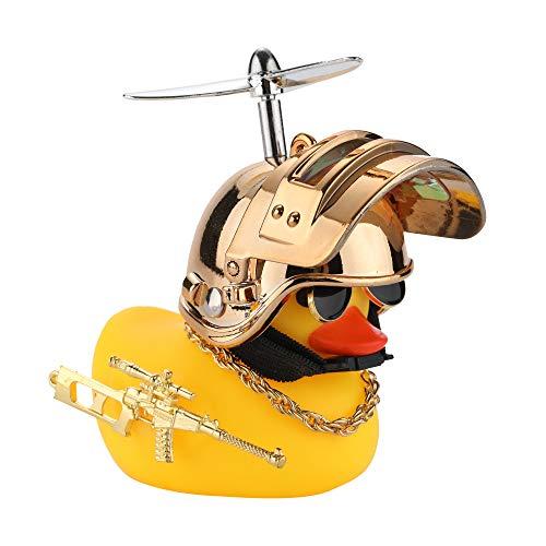 U-Goforst Cute Rubber Duck Toy Car Ornaments Yellow Duck Car Dashboard Decorations Bike Gadgets with Propeller Helmet (Golden)
