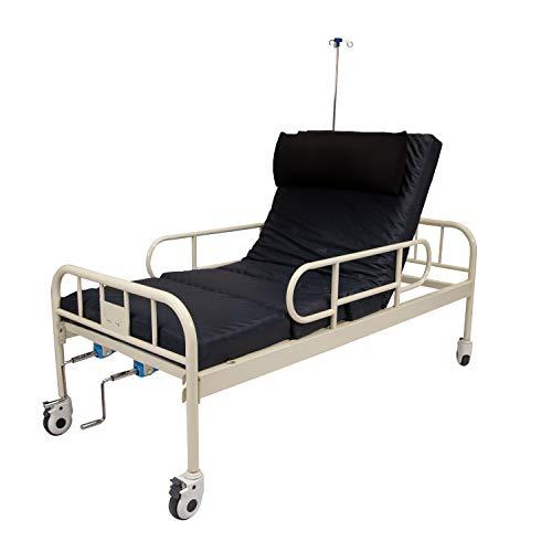 Cama de hospital manual de 2 manivelas con barandales, porta suero,...