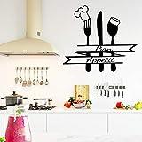 zqyjhkou Kitchen Bon Appetit Etiqueta de la Pared DIY Cuchillo y Tenedor Extraíble Wall Decal Art Home 60x67cm