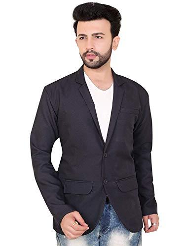 ABC Garments Solid Tuxedo Style Casual Men Full Sleeve Blazer (Dark Blue)