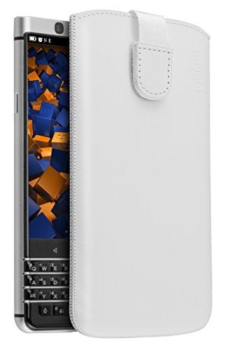 mumbi Echt Ledertasche kompatibel mit BlackBerry KEYone Hülle Leder Tasche Hülle Wallet, Weiss