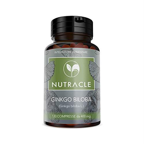 NUTRACLE Ginkgo Biloba 120 compresse da 400mg | Potente antiossidante, anti-age, combatte lo stress psico fisico, favorisce la microcircolazione (1 Confezione)