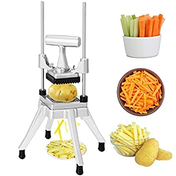 Happybuy Commercial Vegetable Fruit Chopper 3/8″ Blade Heavy Duty Professional Food Dicer Kattex French Fry Cutter Onion Slicer Stainless Steel for Tomato Peppers Potato Mushroom Sliver