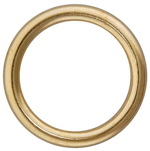 Merriway BH03263 Metal Curtain Drapery Rings, Inner Dia.25mm (1 inch) Outer Dimension 32mm (1.1/4 inch) - Brass Plated, Pack of 24