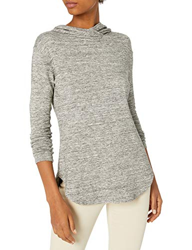Amazon Brand - Daily Ritual Women's Supersoft Terry Long-Sleeve Hooded Pullover, Heather Grey Spacedye, Medium