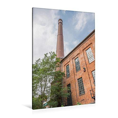 CALVENDO Premium Textil-Leinwand 80 x 120 cm Hoch-Format Historische Fabrik mit Schornstein im Backstein Stil. Kulturzentrum Faust, Leinwanddruck von Michael Speer