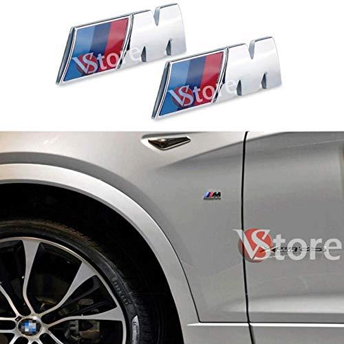VS 2 x M Sport M Power - Placas para guardabarros y parachoques, color plateado