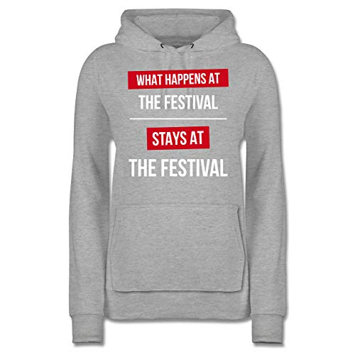 Festival - What Happens on The Festival Stays at The Festival - S - Grau meliert - Geschenk - JH001F - Damen Hoodie und Kapuzenpullover für Frauen