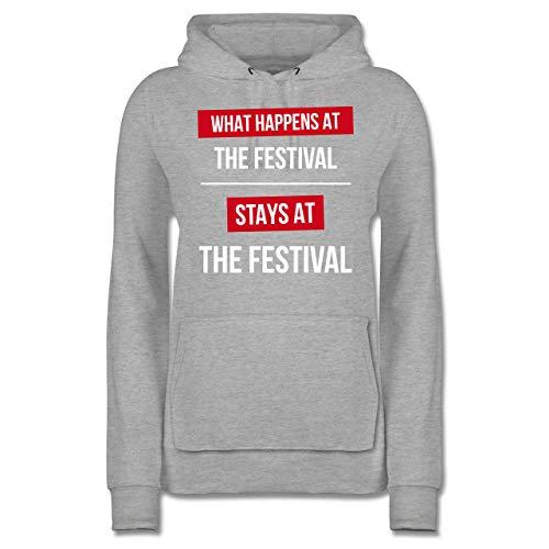 Festival - What Happens on The Festival Stays at The Festival - S - Grau meliert - JH001F_Hoodie_Damen - JH001F - Damen Hoodie und Kapuzenpullover für Frauen