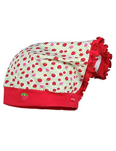 maximo Baby-Mädchen Kopftuch Mütze, Mehrfarbig (Lindgrün-Rot-Erdbeere 23), (Herstellergröße: 49)