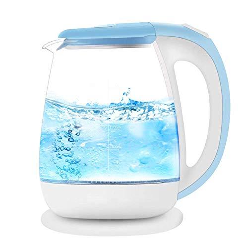 JY Eco Glass Hervidor Eléctrico, Hervidor de Agua sin Cable 1.8L con el Led Azul Iluminado, Fast Hervir Té Hervidor de Agua, de Cierre de Protección de Hervido en Seco Automático, d