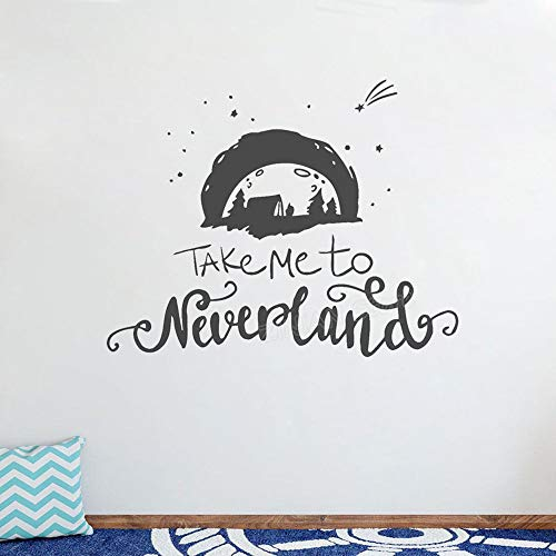 Geiqianjiumai Cartoon Kinder Kinderzimmer Zitat Wandaufkleber Dekoration bringen Mich zu Fantasy Island Junge Kindergarten Vinyl Wandtattoo Schlafzimmer Wandbild grau 53x42cm
