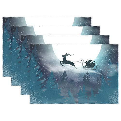 FFY Go Lot de 4 Sets de Table Père Noël Volant sur Un traîneau avec Un cerf Imperméables Antidérapants Résistants à la Chaleur Décoration de Noël