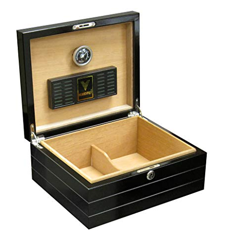 Prestige Import Group Onyx Routed Linear Motif Design Cigar Humidor - Up to 50 Capacity - Color: Lacquer High Gloss Black