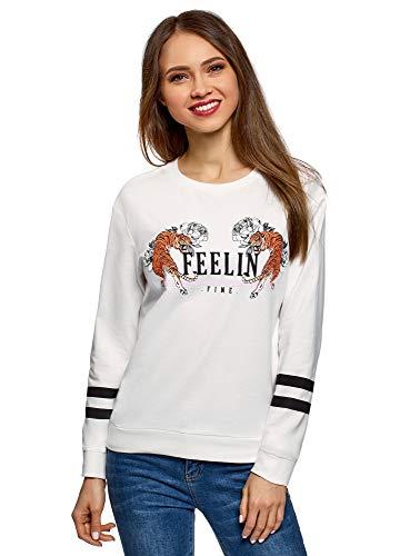 oodji Ultra Damen Baumwoll-Sweatshirt mit Druck, Weiß, DE 44 / EU 46 / XXL