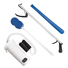 "Rehabilitation Advantage Economy Hip Kit comes with 4 pieces to help the patient complete daily tasks on their own Includes a Plastic Sock Aid with Foam Handles, 26"" Reacher, 17"" Plastic Shoehorn, and a Blue 18"" Handled Sponge Created to assist indiv..."
