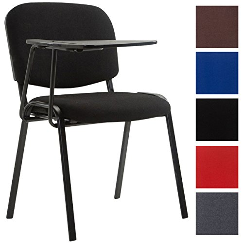CLP Silla Confidente Ken con Brazo Extensible para Escritura I Silla con Pala Flexible para Apuntes I Silla de Conferencia en Tela I Color: Negro