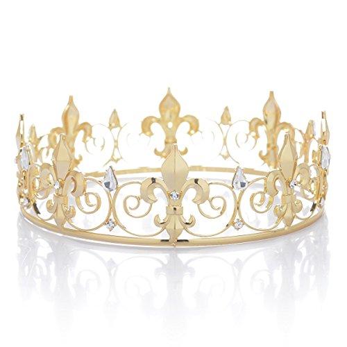 SWEETV Medieval Imperial Cristal Corona del Rey Tiara de los Hombre para la Celebración, Dorado