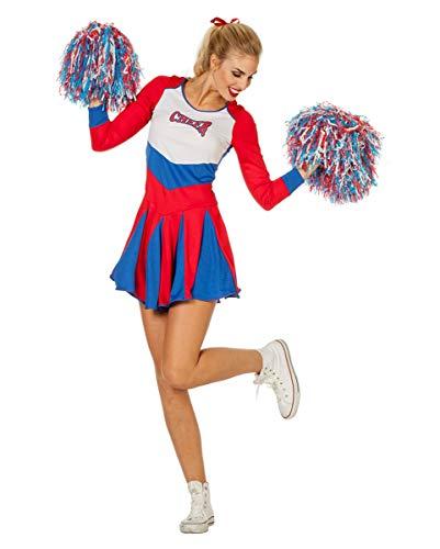 Horror-Shop Rot-blaues Cheerleader Damen Kostüm für Fasching & Garde 36