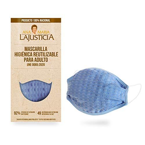 Mascarilla higiénica reutilizable hasta 5 lavados. Producto 100% nacional homologado. Cubre nariz, boca y barbilla.