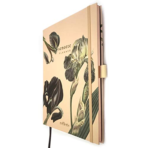 Premium Weekly Undated 2021 Planner Senotte. Floral Hardcover Agenda, Personal Organizer with Monthly Calendar, Daily Overview, Thick 100 GSM Paper, Pen Loop and Inner Pocket, Bloom Pattern