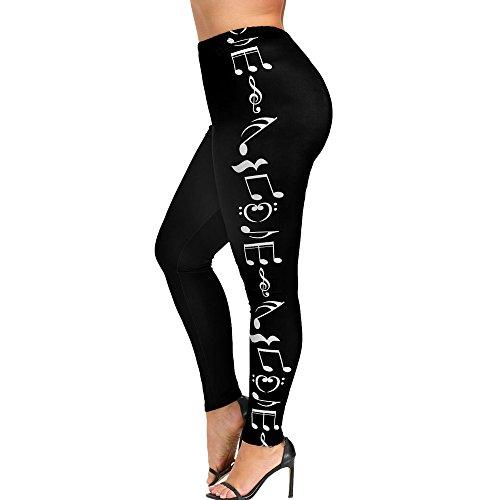 Patifia Leggings Damen Sport, Mode Frauen hohe Taille größe größe Yoga Sport Hosen Musik Note Hosen Leggings Elatisch Jogginghose Tights Fitnesshose Laufenhose Trainingshose