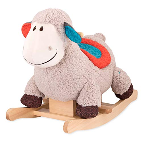 New B. Toys – Loopsy Wooden Rocking Sheep – Rodeo Rocker – Plush Ride On Sheep Rocking Horse f...