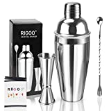 Cocktail Shaker Set Bartender Kit with Martini Shaker 24 Ounce, Bar Kit Drink Mixer Shaker Mixing Spoon and Double Cocktail Jigger