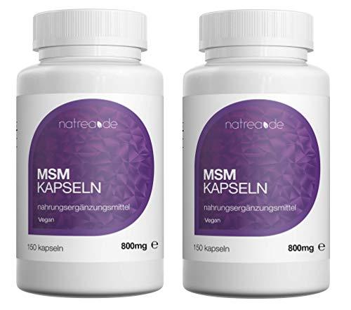 Natrea MSM Kapseln | vegan | 99,9% reines, hochdosiertes, organisches Schwefel Pulver 2 x 150 Kapseln à 800mg MSM (Methylsulphonylmethan) ca. 150 Tage Anwendung