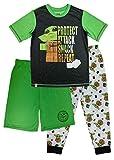 LEGO Star Wars Baby Yoda Pajama Set, Boys 3 Piece Mandalorian PJ Set with Extra Pants,Green,Boys size 6/7