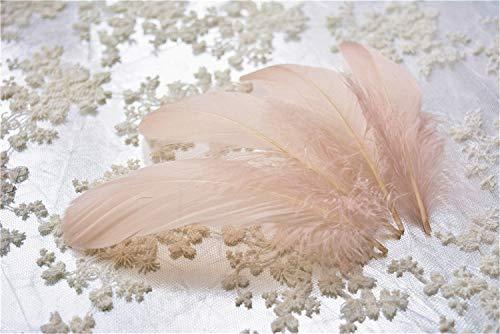 Plumas de ganso sueltas, 70 colores, para sombreros, tocados, artesanías, decoraciones, lámparas, persianas, disfraces 25 pieces Nude #67