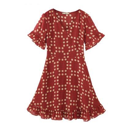 GCC vrouwen grote grootte rode stippen jurk nieuwe V-hals bel korte mouw slank los een woord jurk