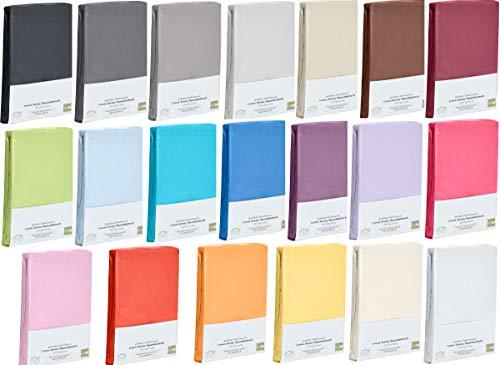 Hometex Premium Textiles Spannbettlaken Spannbetttuch bis 23 cm Steghöhe | Bettlaken Jersey aus 100% Baumwolle | 90-100x200 cm Weiß | ÖKO-TEX Standard | Viele Größen und Farben erhältlich